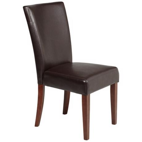 Powell Axelrod Dark Brown Bonded Leather Parsons Chair