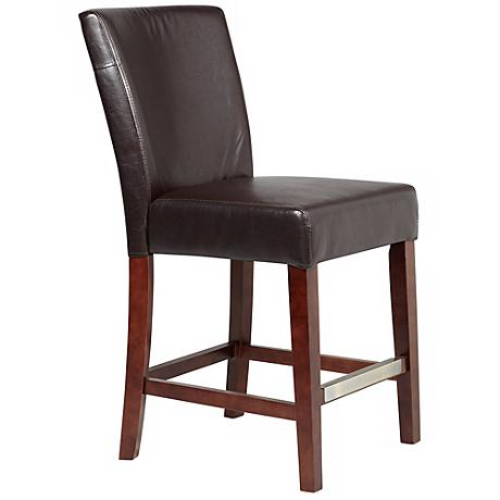 "Powell Axelrod Dark Brown 24"" High Parsons Counter Stool"