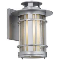 "Argentine 14"" High Brushed Steel Outdoor Wall Light"