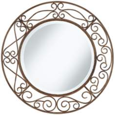 "Distressed Rust Curves 30"" Wide Wall Mirror"