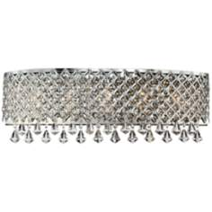 "Chrome Band Around Crystal 23 1/2"" Wide Bath Light Fixture"