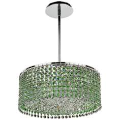 "Peridot Green Layered Danube Crystal 15"" Pendant Chandelier"