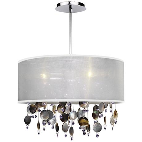 "Around Town Pearl and White 18"" Wide Pendant Chandelier"