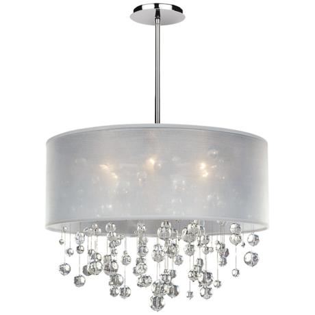 "Danube Crystal and White Shade 21"" Wide Pendant Chandelier"