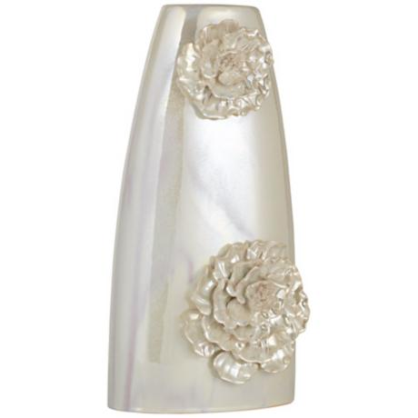 Small Dahlia Ceramic Triangle Ivory Vase