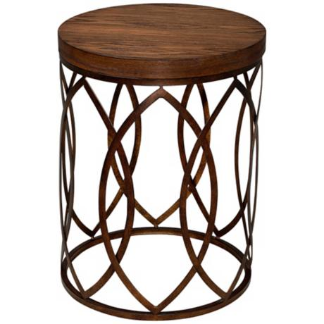 Beekman Round Wood and Metal Accent Table