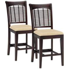"Set of 2 Hillsdale Dark Cherry Bayberry 24"" Counter Stools"