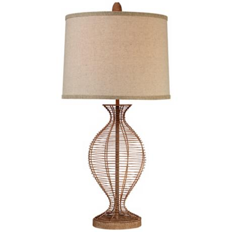 Brown French Wire Vase Table Lamp