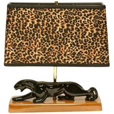 Haeger Potteries Panther with Animal Print Shade Table Lamp