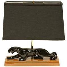 Haeger Potteries Panther with Black Shade Table Lamp