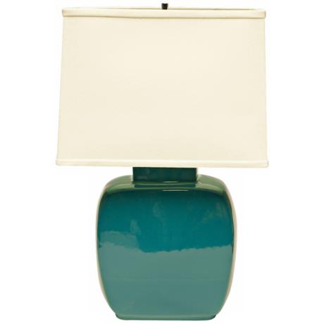 Haeger Potteries Ocean Blue Square Ceramic Table Lamp