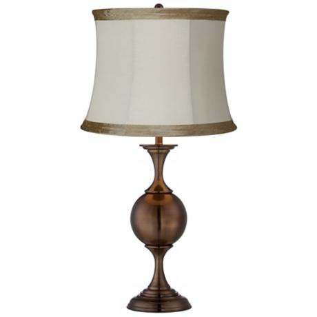 Ivory Linen Bronze Center Sphere Table Lamp