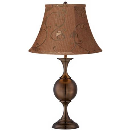 Butterscotch Floral Bronze Center Sphere Table Lamp