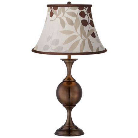 Tan Floral Silhouette Bronze Center Sphere Table Lamp