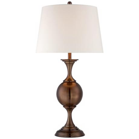 Bronze Finish with White Shade Center Sphere Table Lamp