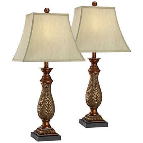 "Set of 2 Two-Tone Gold 29"" High Traditional Table Lamps"