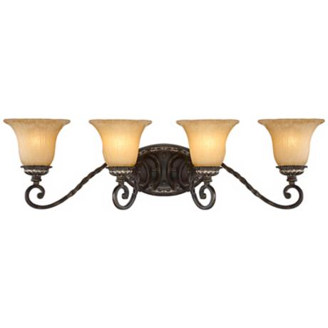 "Traditional Bronze and Gold 32 1/4"" Wide Bath Light"