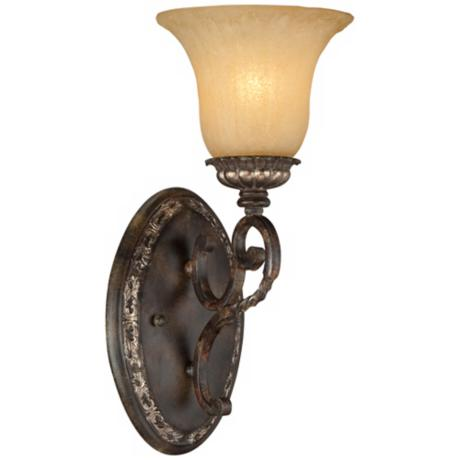 "Traditional Bronze and Gold 14 1/2"" High Wall Sconce"