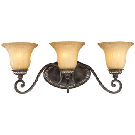 "Traditional Bronze and Gold 23 1/2"" Wide Bath Light"