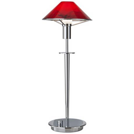 Chrome and Red Magma Tented Halogen Holtkoetter Desk Lamp
