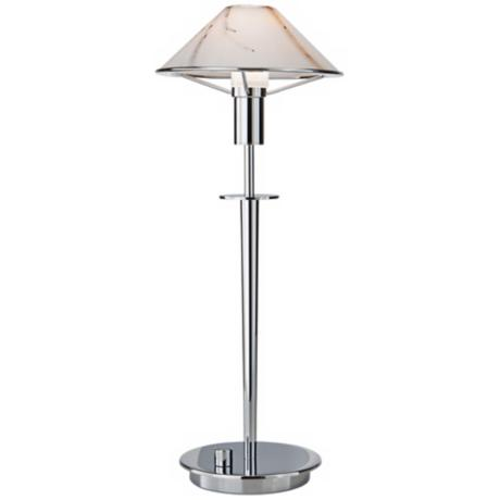 Chrome and Marble Glass Tented Halogen Holtkoetter Desk Lamp