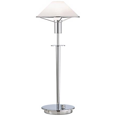 Chrome and Satin White Tented Halogen Holtkoetter Desk Lamp