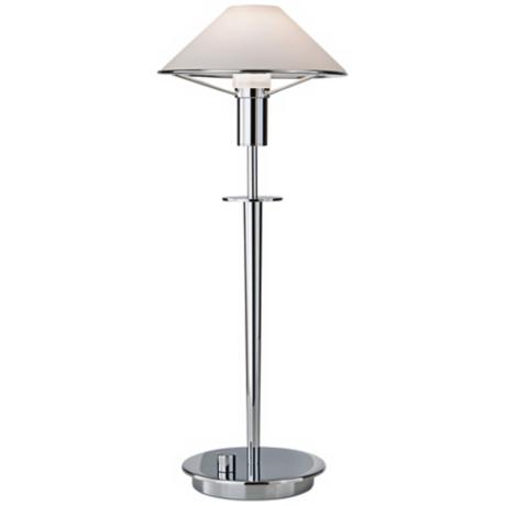 Chrome and True White Tented Halogen Holtkoetter Desk Lamp