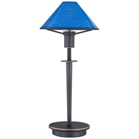 Pearl Blue Glass Old Bronze Mini Holtkoetter Desk Lamp