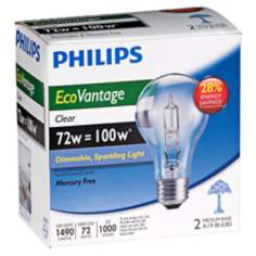 72W Equivalent 100 Watt-1490 Lumens Clear Halogen Bulbs