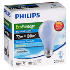 EcoVantage 72 Watt 2-Pack Natural Light Halogen Light Bulbs