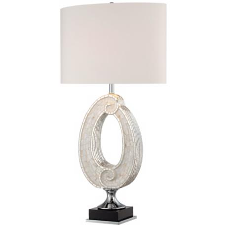 Possini Spiral Sea Mosaic Tile Table Lamp