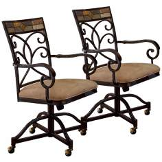 Set of 2 Pompeii Caster Dining Chairs