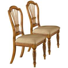 Set of 2 Wilshire Antique Pine Side Chairs