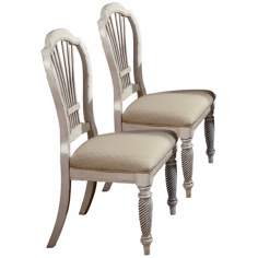 Set of 2 Wilshire Antique White Side Chairs
