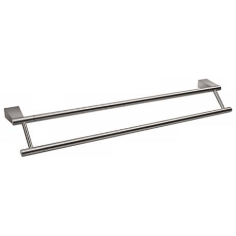 "Gatco Bleu Satin Nickel 24"" Wide Double Towel Bar"