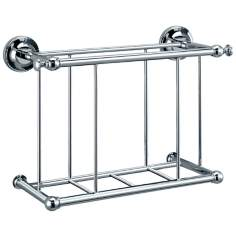 "Gatco Traditional Chrome 13 1/4"" Wide Wall Magazine Rack"