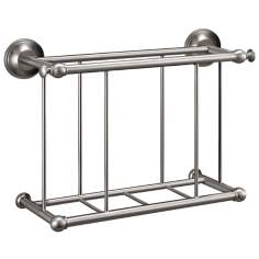 "Gatco Satin Nickel 13 1/4"" Wide Wall Magazine Rack"