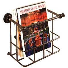 "Gatco Traditional Bronze 13 1/4"" Wide Wall Magazine Rack"