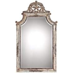 "Uttermost Portici 53"" High Antiqued Ivory Wall Mirror"