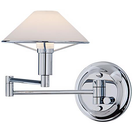 Holtkoetter Chrome White Glass Swing Arm Wall Lamp