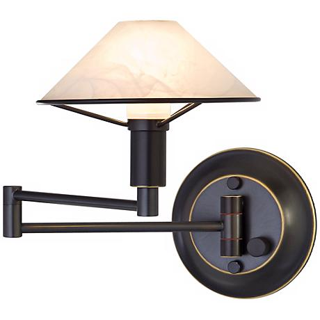 Holtkoetter Bronze with White Alabaster Swing Arm Wall Lamp