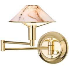 Holtkoetter Brass with Marbled Glass Swing Arm Wall Lamp