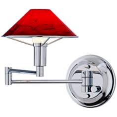 Holtkoetter Magma Red Glass Chrome Swing Arm Wall Lamp