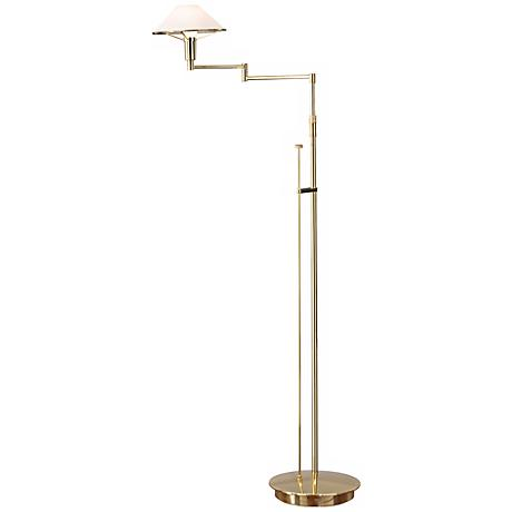 Polished Brass with Satin White Glass Holtkoetter Floor Lamp