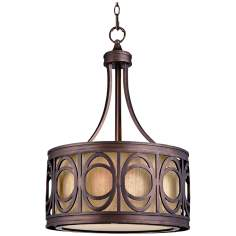"Golden Bronze Ring Motif 17 3/4"" Wide Pendant Light"