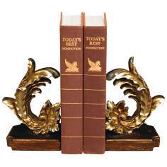 Set of 2 Cresting Leaf Bookends
