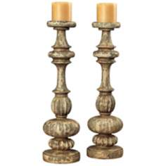 Set of 2 Flemish Carved Candle Holders