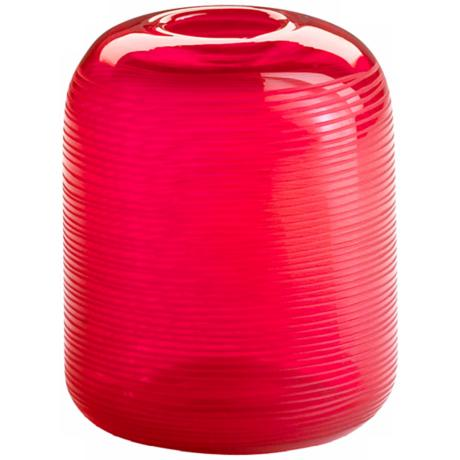 Contempo Etched Crimson Red Glass Vase