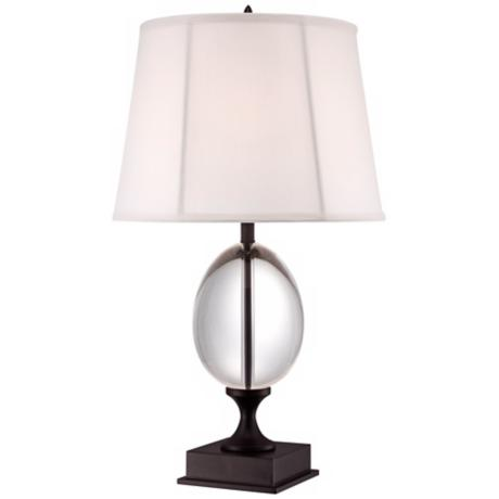 Vienna Full Spectrum Crystal Egg and Bronze Stand Table Lamp