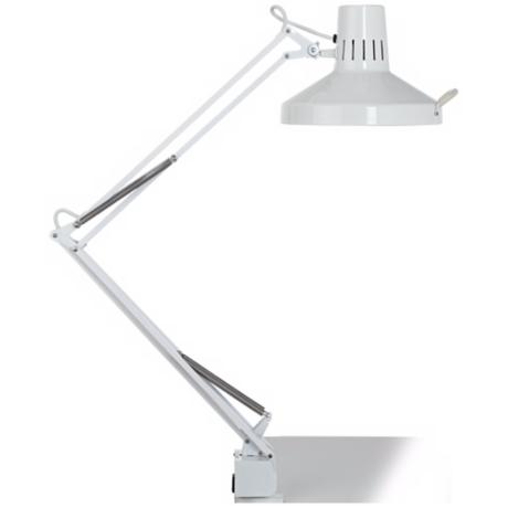 White Metal 2-Light Clamp-On Desk Lamp